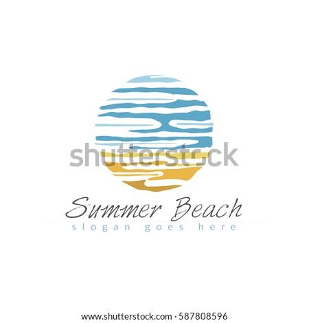 beach icon in summer beach logo