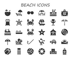 beach icon set. 30 filled beach icons.  Collection Of - Coconut water, Sunbed, Sunglasses, Chairs, Swimming pool, Luggage, Chair, Turtle, Crab, Hammock, Palm tree, Jet ski, Pier