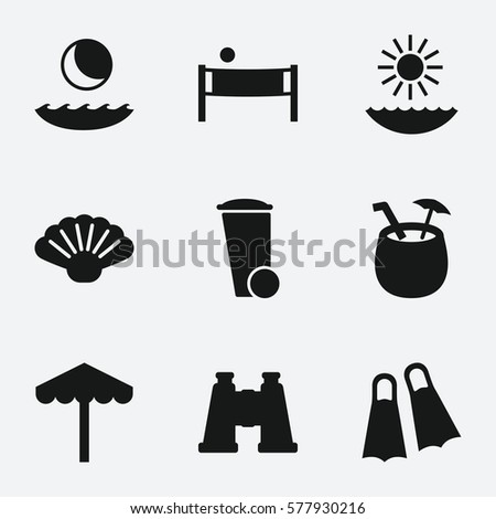 beach icon set of 9 beach