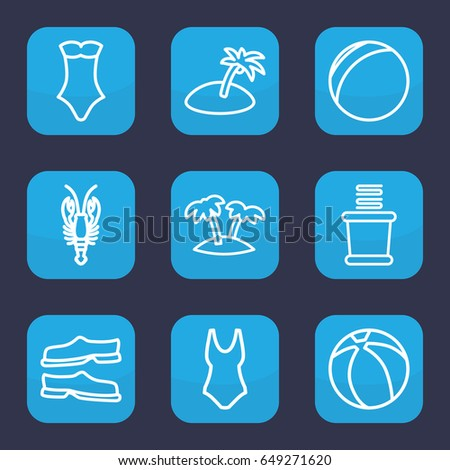 beach icon set of 9 outline