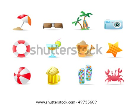 beach icons and products - stock vector