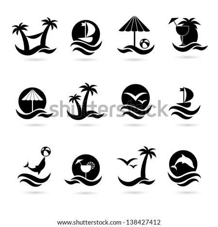 beach icons eps 8