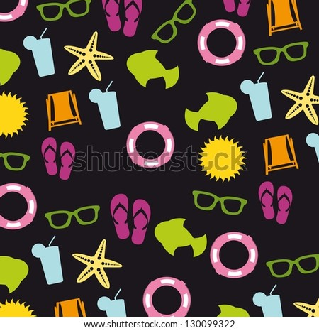 beach icons over black background. vector illustration