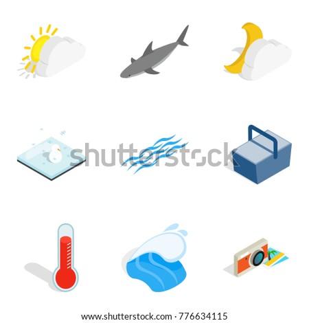 beach icons set isometric set