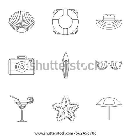 beach icons set outline