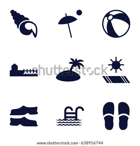 beach icons set set of 9 beach