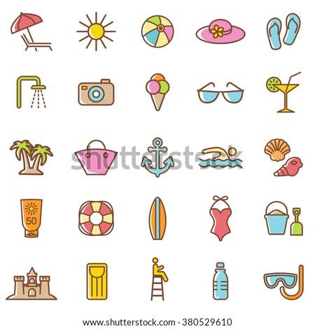 beach  icons setvector