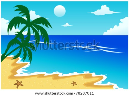 beach illustration with coconut palm