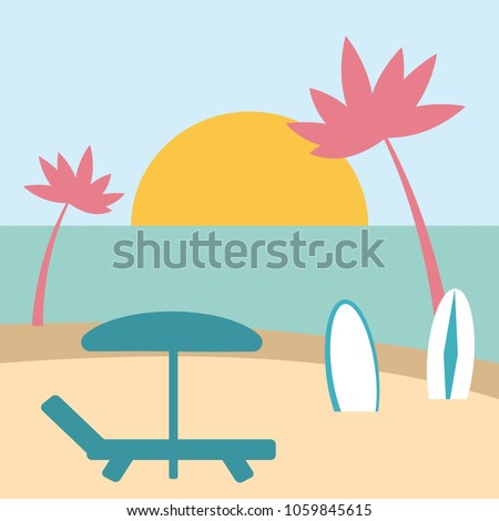 beach illustration with lounger