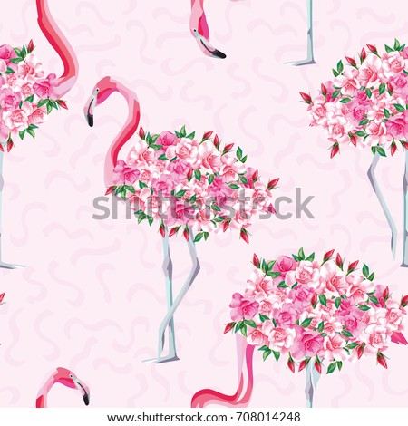 Beach image of a wallpaper with a beautiful tropic pink flamingo body of roses flowers. Seamless vector composition on pink abstract background