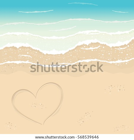 beach in summer time heart in