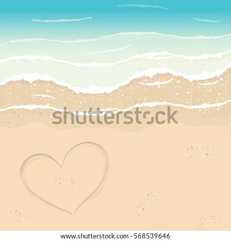 beach in summer time heart in