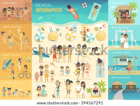 beach infographic set with
