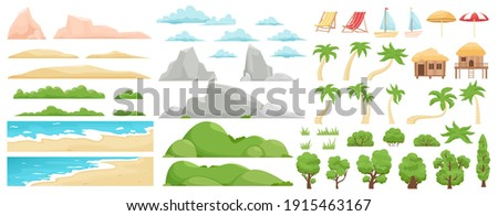 Beach landscape elements. Nature beach, clouds, hills, mountains, trees and palms. Outdoor tropical beach landscape constructor vector illustration. Beach landscape sea, mountain and coast