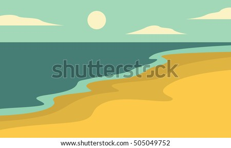 beach landscape of silhouettes