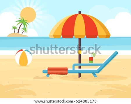 Beach Landscape with Beach Umbrella, Beach Chair, Cocktail and a Ball. Flat Design Style.  - Shutterstock ID 624885173