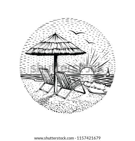 beach landscape with parasol