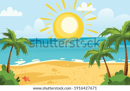 beach lanscape with sun and palms, sunny vector background with beach and sea