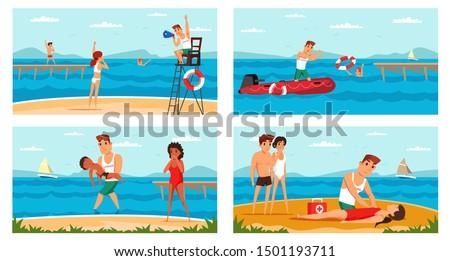 beach lifeguard flat vector