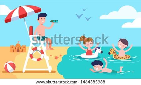 Beach lifeguard safeguarding watching kids sitting on lifeguard tower ensuring safety. Summer holidays recreation. Happy girl & boys children enjoying safe sea water swimming. Flat vector illustration Foto stock ©