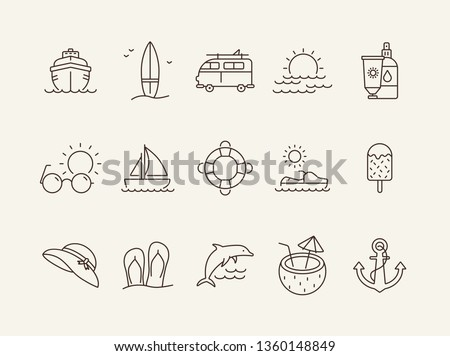 Beach line icon set. Yacht, surfboard, sea, sunset. Vacation concept. Can be used for topics like seaside, tropical resort, summer