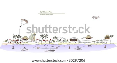 beach line illustration