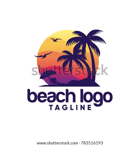 beach logo design vector
