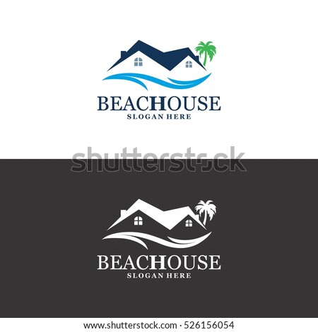 beach logo in vector