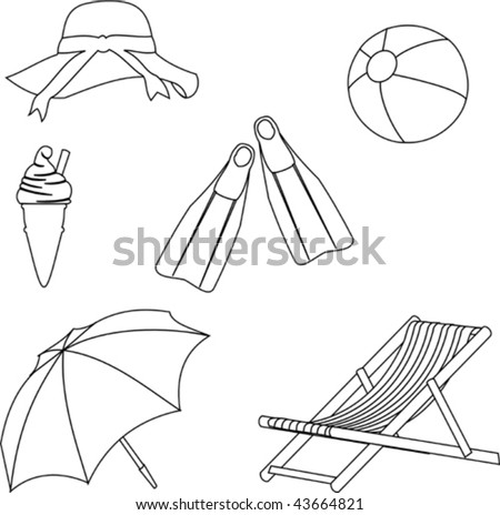 Beach Objects Line Style Drawing
