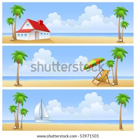 Vector illustrations of summer beach