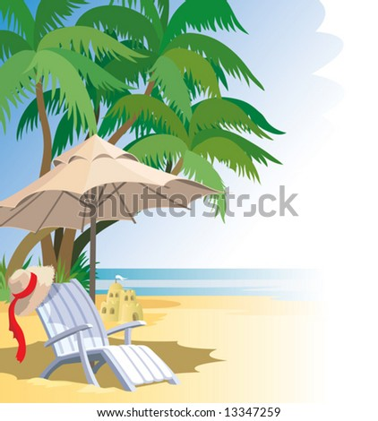 Beach, palm trees, sea, chairs and umbrella.
