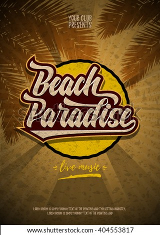 beach paradise party flyer