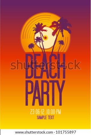 Beach Party design template with place for text.