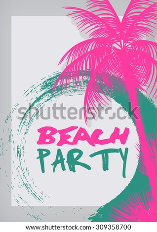 beach party poster with palm