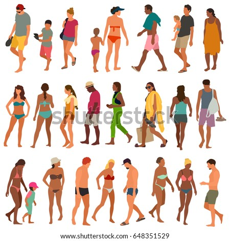 Beach people vector illustration