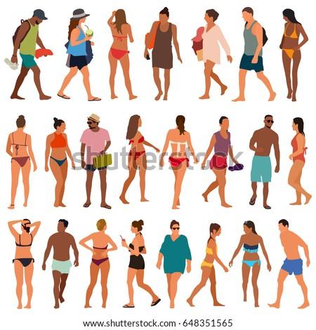 Beach people vector illustration