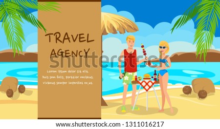 Beach picnic, barbecue cartoon vector illustration. Romantic couple rest. Paradise sea resort. Lovers flat characters with hand drawn lettering. Honeymoon. Travel agency advertising banner concept