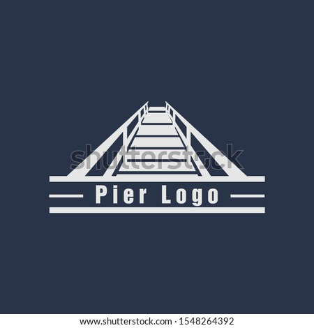 beach pier dock logo design