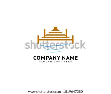 Beach Pier Dock Logo Design Vector Сток-фото ©