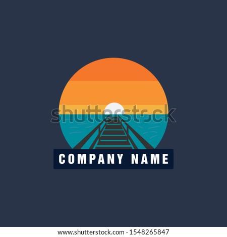 beach pier dock sunset logo