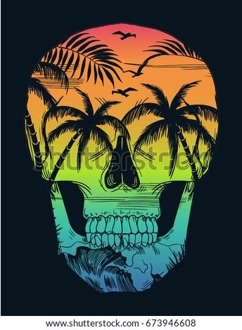 beach print with skull