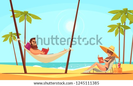 Beach reading background with sand palms and sea flat vector illustration