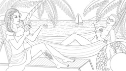 Beach relax vector coloring page, detailed illustration of two young girls resting on the beach, drinking cocktails, sea, sailboat and palms in the background