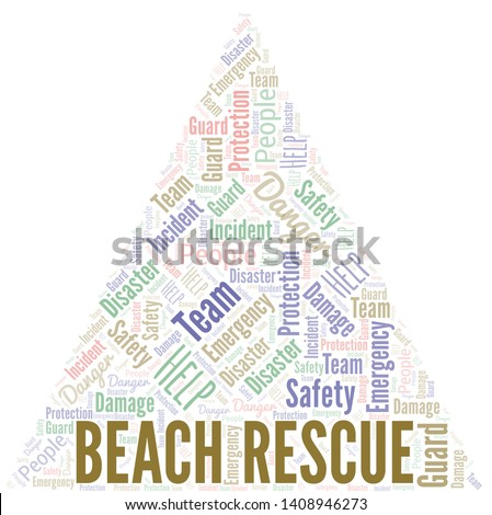 Beach Rescue Word Cloud. Word cloud Made With Text.