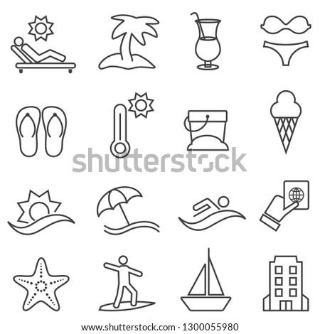 Beach. resort and summer line icon set.