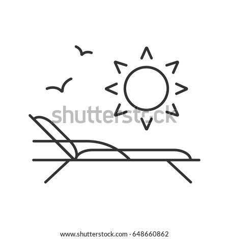 beach rest linear icon thin