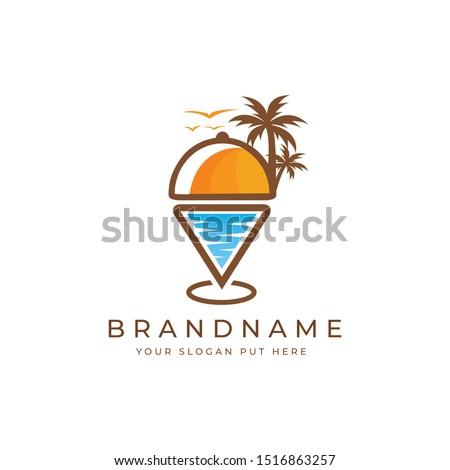 beach restaurant pin or beach