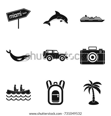 beach ride icons set simple