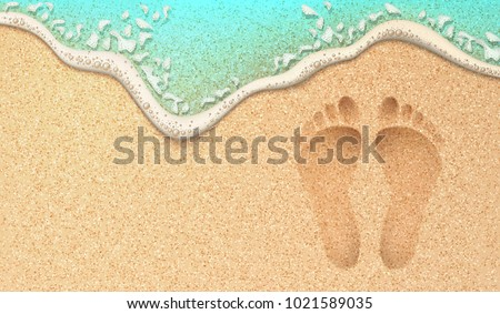 Beach sand footprint ocean coast sea azure wave with bubble. Vector realistic illustration. Tropical travel, summer vacation holiday paradise resort background template. Human steps on shore