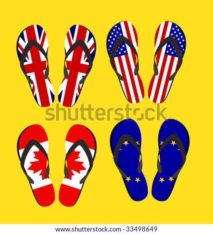 Beach sandals - stock vector